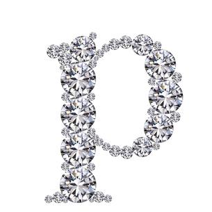 ダイヤモンドで作ったアルファベット 小文字  pの写真素材 [FYI03315617]