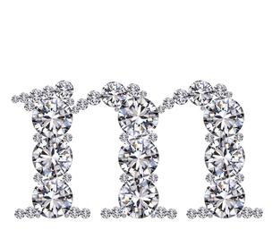 ダイヤモンドで作ったアルファベット 小文字  mの写真素材 [FYI03315621]