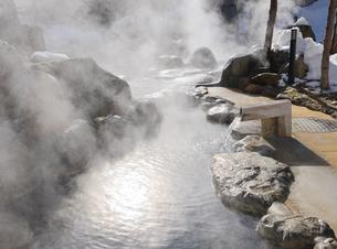 湯けむり立つひらゆの森露天風呂の写真素材 [FYI03317254]