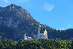山上のノイシュヴアンシュタイン城の写真素材 [FYI03317557]