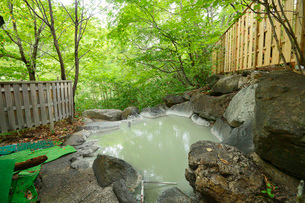 林間の露天風呂の写真素材 [FYI03317786]