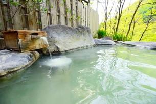 新緑の露天風呂の写真素材 [FYI03318402]
