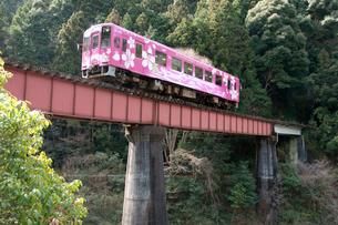 錦川鉄道根笠駅付近を走る電車の写真素材 [FYI03319797]