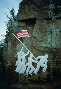 硫黄島の米国海兵隊員のレリーフの写真素材 [FYI03332792]