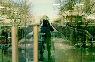 ガラスドアに映る雪の日の自画像の写真素材 [FYI03338886]