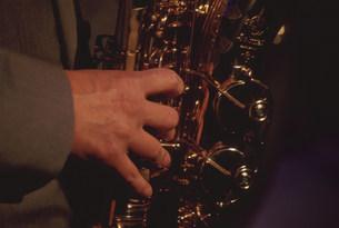 アルトサックス奏者の手の写真素材 [FYI03339406]