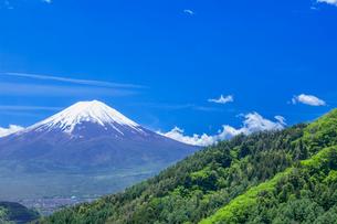新緑の山と富士山の写真素材 [FYI03339442]