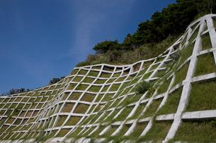 土砂崩れ防止ネットが施工してある崖の写真素材 [FYI03340993]
