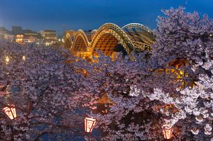 錦帯橋の夜景の写真素材 [FYI03342622]