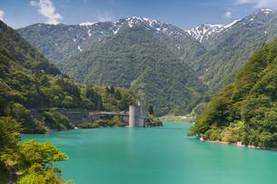 宇奈月ダム湖からのトロッコ電車の写真素材 [FYI03342638]