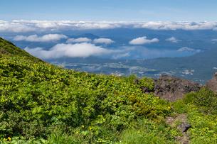駒ケ岳登山道より田沢湖を望むの写真素材 [FYI03343193]