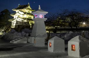 弘前城雪燈篭まつりの写真素材 [FYI03343429]