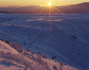 厳冬の美ヶ原日の出の写真素材 [FYI03344349]