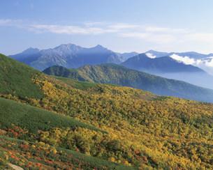 乗鞍山腹の紅葉と北アルプスの山々の写真素材 [FYI03344467]