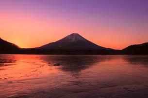 精進湖よりのぞむ富士山の写真素材 [FYI03345818]
