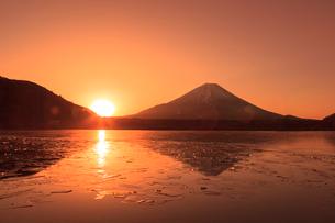 精進湖よりのぞむ富士山の写真素材 [FYI03345821]