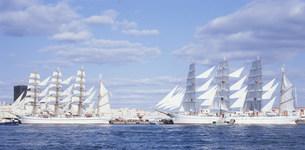 神戸港に停泊する日本丸と海王丸の写真素材 [FYI03346538]