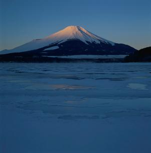 山中湖の氷結と朝焼けの富士山の写真素材 [FYI03347725]