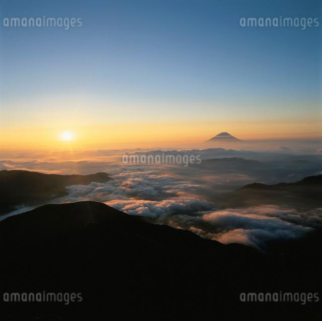 北岳から望む雲海と日の出と朝焼けの富士山の写真素材 [FYI03347741]