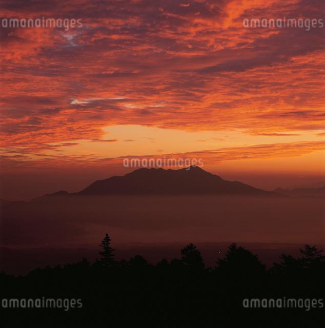 滝沢林道から望む愛鷹山の朝焼けの写真素材 [FYI03347819]