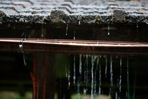 樋から溢れ出す雨水の写真素材 [FYI03348535]