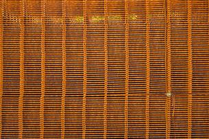 積まれて錆びた防獣柵とアマガエルの写真素材 [FYI03348792]