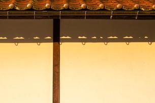 朝日に染まる漆喰の壁と石州瓦の写真素材 [FYI03349235]