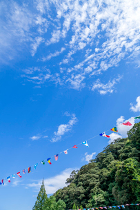 運動会の万国旗と青空の写真素材 [FYI03349383]