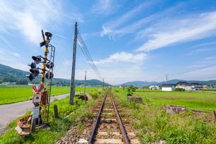 ローカル線の踏切の写真素材 [FYI03349385]