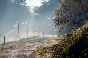 山間の道と蒸気霧の写真素材 [FYI03349400]
