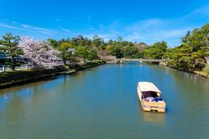 堀川遊覧と松江城の写真素材 [FYI03349463]