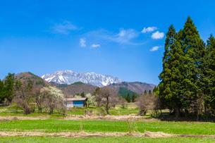 山里と残雪の大山の写真素材 [FYI03349479]