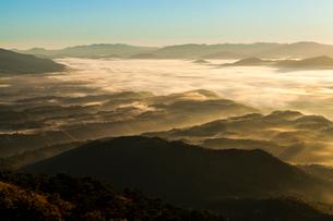 朝日に染まる高原の霧の写真素材 [FYI03349624]