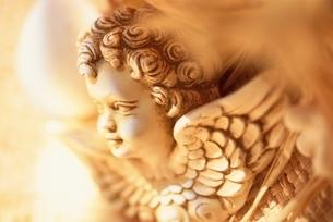 天使の顔の彫像(セピア)の写真素材 [FYI03351107]