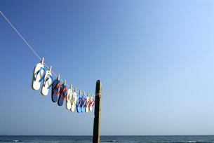 干されるビーチサンダルと青空の写真素材 [FYI03351303]