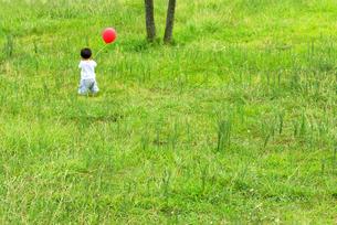 風船を持って草原を歩く男の子の後姿の写真素材 [FYI03351325]