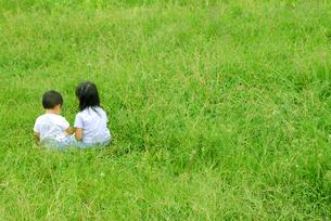 野原で遊ぶ姉弟の写真素材 [FYI03351334]