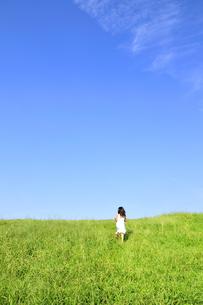 草原の丘を走る女の子の写真素材 [FYI03351397]