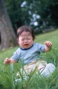 泣いている日本人の男の子の赤ちゃんの写真素材 [FYI03353294]