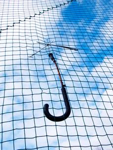 ネットにぶら下がる壊れた傘の写真素材 [FYI03353939]