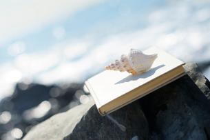 海辺におかれた本と巻き貝の写真素材 [FYI03354822]