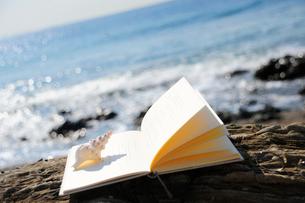 海辺におかれた本と巻き貝の写真素材 [FYI03354824]