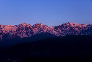 朝焼けに染まる白馬三山と水田風景の写真素材 [FYI03355634]