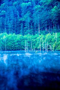 王滝村 蒸気霧流れる自然湖の写真素材 [FYI03355706]