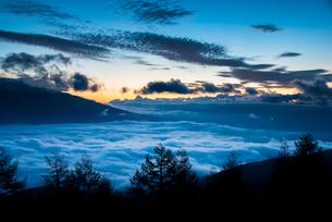 入笠高原より雲海と朝焼けの空の写真素材 [FYI03355776]