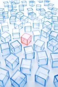 青アクリルキューブ群と赤アクリルキューブの写真素材 [FYI03356084]