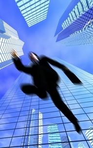 ビル街をジャンプしているビジネスマン CGの写真素材 [FYI03357433]