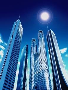 高層ビル群の上の太陽 CGのイラスト素材 [FYI03357438]