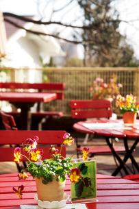 道端のカフェの赤いテーブルの写真素材 [FYI03363012]