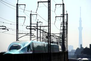 東北新幹線はやぶさと東京スカイツリーの写真素材 [FYI03363484]